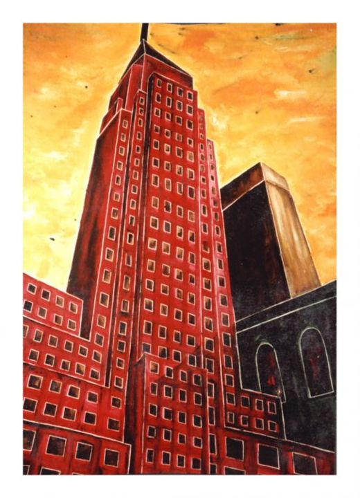 Firing Empire Stade Building - Painting,  29.9x22.1 in, ©1993 by Dominique Marthouret -
