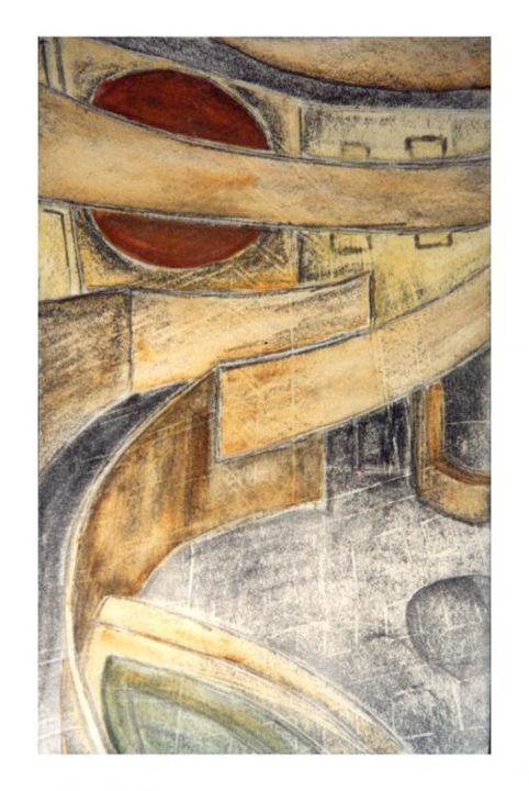 Hall Guggenheim Museum  - Painting,  9.5x6.3 in, ©1993 by Dominique Marthouret -