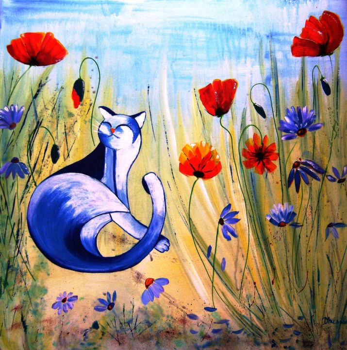 chat-me-gratte - Painting, ©2019 by dominique missler -                                                                                                                                                                                                                                                                                                                  Naive Art, naive-art-948, Animals, Cats, Flower, chat