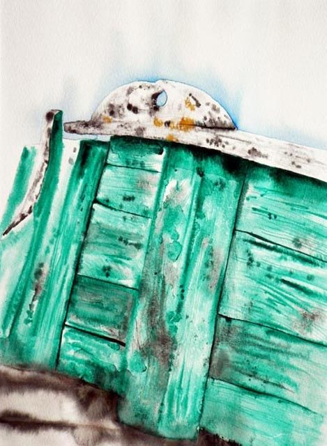 barque 3 - Painting,  40x30 cm ©2009 by Dominique Ramaud -