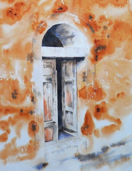 porte corse - Painting,  40x30 cm ©2011 by Dominique Ramaud -