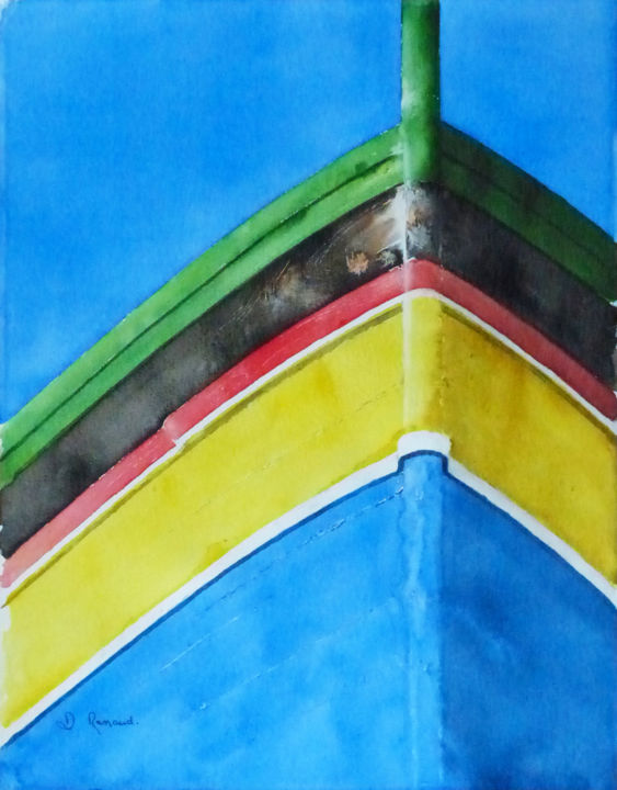 barque-portugaise.jpg - Painting,  40x30 cm ©2015 by Dominique Ramaud -