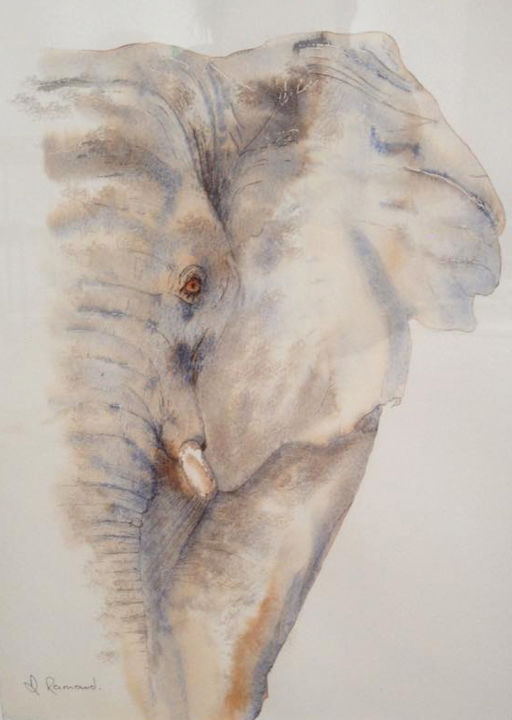 l'éléphant.jpg - Painting,  15.8x11.8 in, ©2015 by Dominique Ramaud -