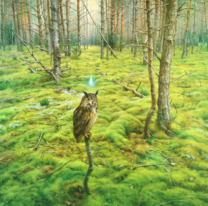 """Painting titled """"In The Forest"""" by Donatas Inis, Original Art, Oil"""