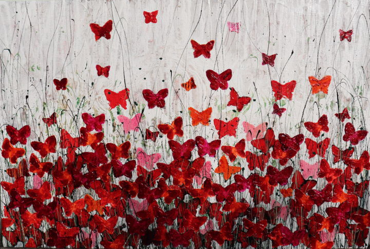 """Painting titled """"Lovely butterfly"""" by Donatella Marraoni, Original Art, Oil"""