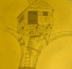 """Drawing titled """"Tree House"""" by Don Fullen, Original Art,"""
