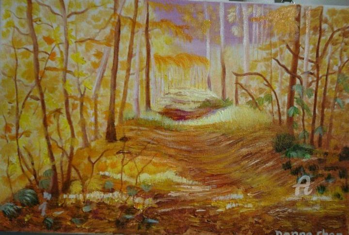 """Painting titled """"Forest in Autumn"""" by Mei Ha Chan (Donna), Original Art, Tempera Mounted on Stretcher frame"""