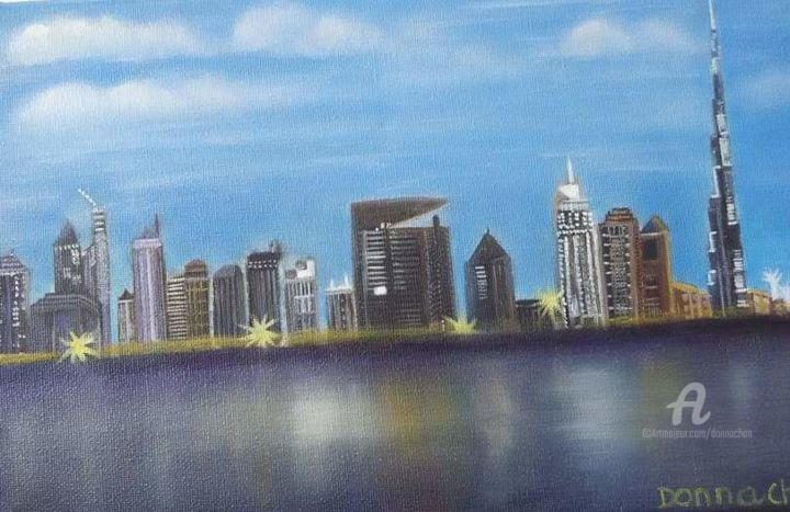 """Painting titled """"Dubai City"""" by Mei Ha Chan (Donna), Original Art, Pigments Mounted on Stretcher frame"""