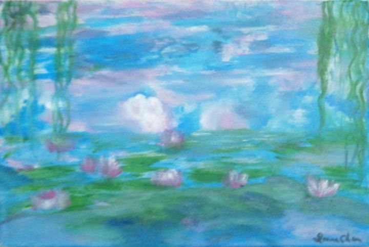 """Painting titled """"花園(仿莫內)"""" by Mei Ha Chan (Donna), Original Art, Pigments Mounted on Wood Panel"""