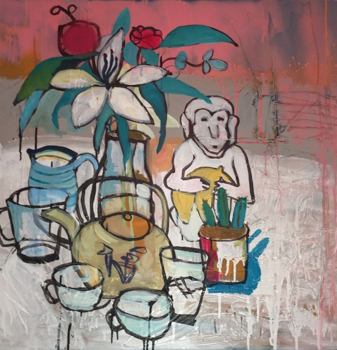 """Painting titled """"Tea in isolation"""" by Donna Nolan Art, Original Art, Acrylic Mounted on Stretcher frame"""