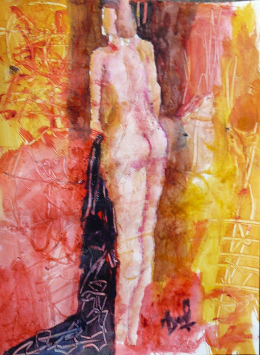 LA TOILETTE - Painting,  12.6x9.5 in, ©2018 by Jacques Donneaud -                                                                                                                                                                                                                          Figurative, figurative-594, Nude, nu artistique