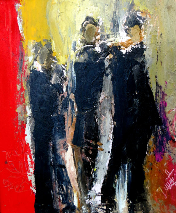 TROIS MUSICIENS - Painting,  23.6x19.7x0.1 in, ©2018 by Jacques Donneaud -                                                                                                                                                              Pulpboard, Music, musiciens