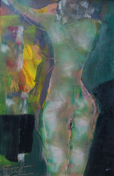 nu lumière verte - Painting,  16.1x10.6x1.6 in, ©2018 by Jacques Donneaud -                                                              Nude
