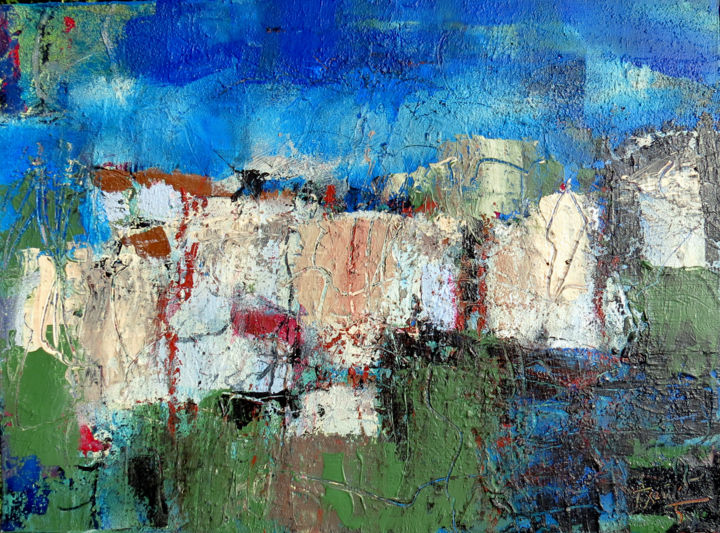 PROVENCE BLEUE - Peinture,  21,3x28,7x1,6 in, ©2019 par Jacques Donneaud -                                                                                                                                                                          Abstract, abstract-570, Paysage