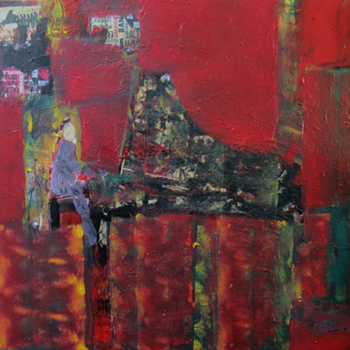 MUSIQUE LUMIERE ROUGE ou JAZZ PIANIST - Painting,  27.6x27.6x2.4 in, ©2020 by Jacques Donneaud -                                                                                                                                                                                                                                                                                                                  Abstract, abstract-570, Abstract Art, jazz, pianiste, musique