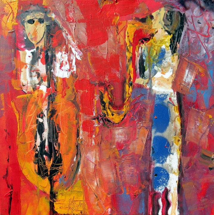 JAZZ STREET JAZZ - Peinture,  27,6x27,6x2,4 in, ©2020 par Jacques Donneaud -                                                                                                                                                                                                                                                                                                                  Abstract, abstract-570, Musique, Jazz, rue, musique