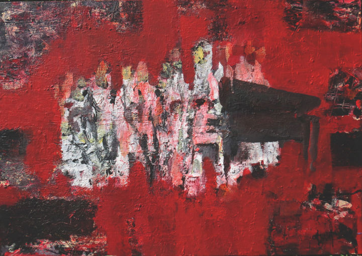 SYMPHONIE CLASSIQUE NOTE ROUGE - Painting,  31.5x46.1x1.6 in, ©2019 by Jacques Donneaud -                                                                                                                                                                                                                                                                                                                  Abstract, abstract-570, Music, musique, symphonie, orchestre