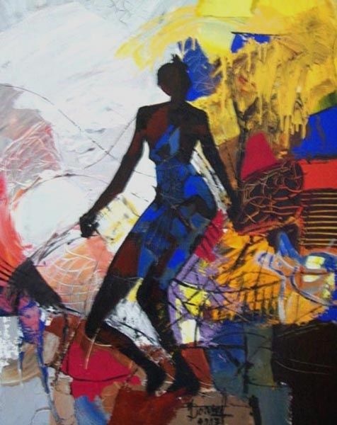 L'Africaine - Painting,  36.2x28.7 in, ©2007 by Jacques Donneaud -                                                              danseuse