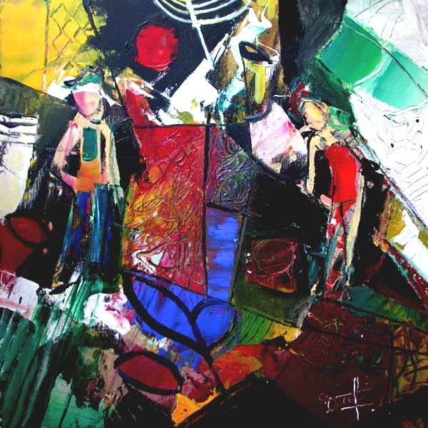 le jardin extraordinaire - Painting,  19.7x19.7 in, ©2007 by Jacques Donneaud -                                                                                                                                                                                                                          Abstract, abstract-570, Geometric, jardin