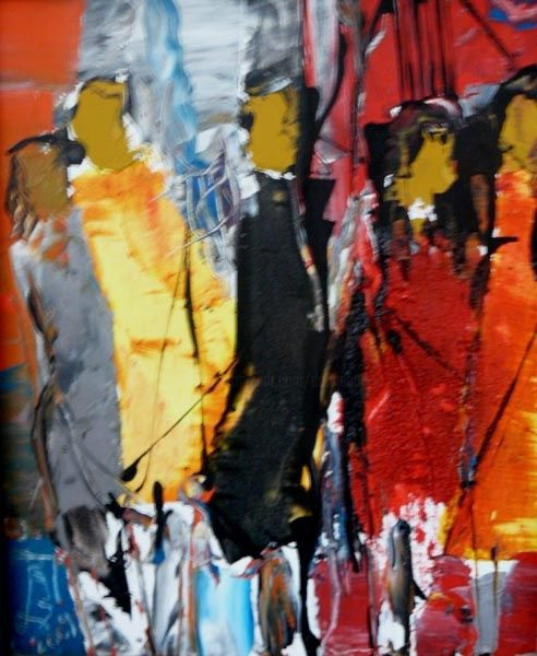 Visions féminines - Painting,  18.1x15 in, ©2010 by Jacques Donneaud -                                                                                                              People, silhouettes