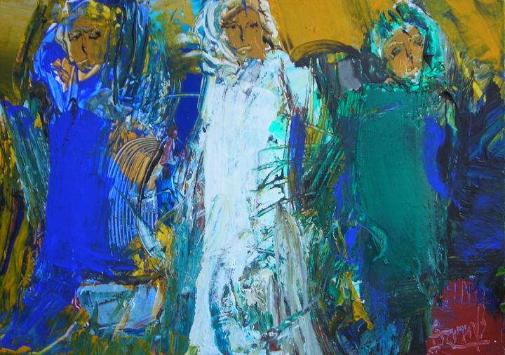 Marocaines - Painting,  1.2x19.7x28.7 in, ©2015 by Jacques Donneaud -                                                                                                                                                                                                                          Figurative, figurative-594, People, Maroc