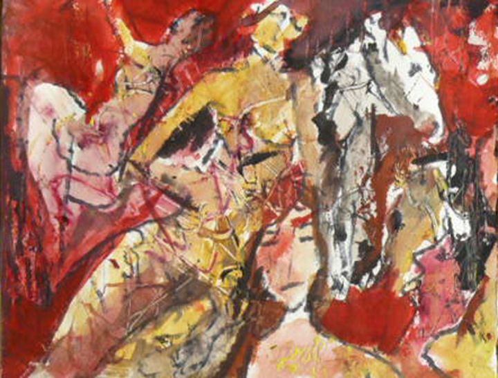 L'amazone - Painting,  9.1x11.4 in, ©2015 by Jacques Donneaud -                                                                                                                                                                                                                          Figurative, figurative-594, artwork_cat.Horses, cheval amazone