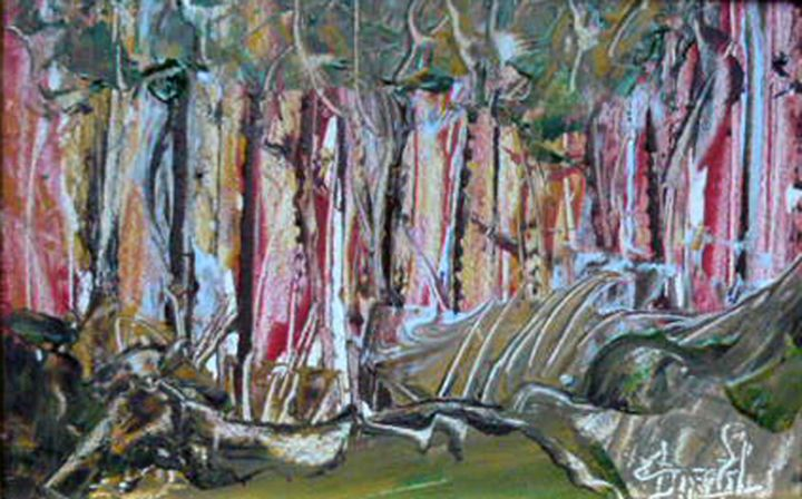 Sous bois - Painting,  5.5x8.7x1.6 in, ©2015 by Jacques Donneaud -                                                                                                                                                                                                                                                                      Abstract, abstract-570, Tree, bois, forets