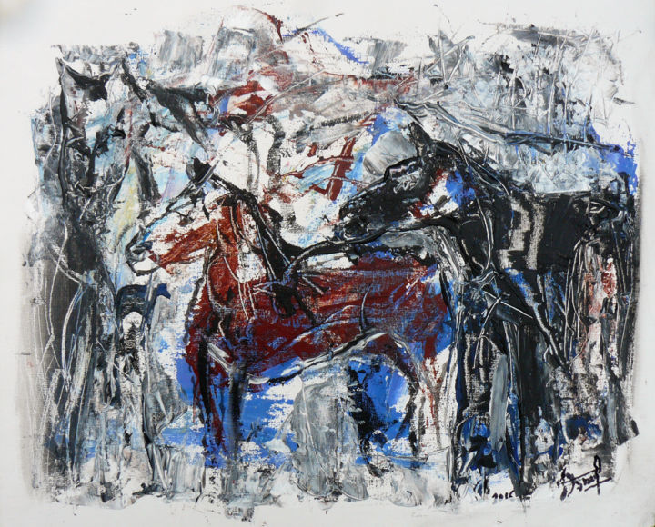 La montagne aux chevaux - Painting,  15x18.1x0.1 in ©2016 by Jacques Donneaud -                                            Figurative Art, Horses, chevaux