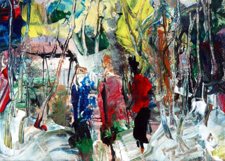 Promenade hivernale - Painting,  5.1x7.1x1.2 in ©2015 by Jacques Donneaud -                                            Figurative Art, People, paysage, personnages, hiver