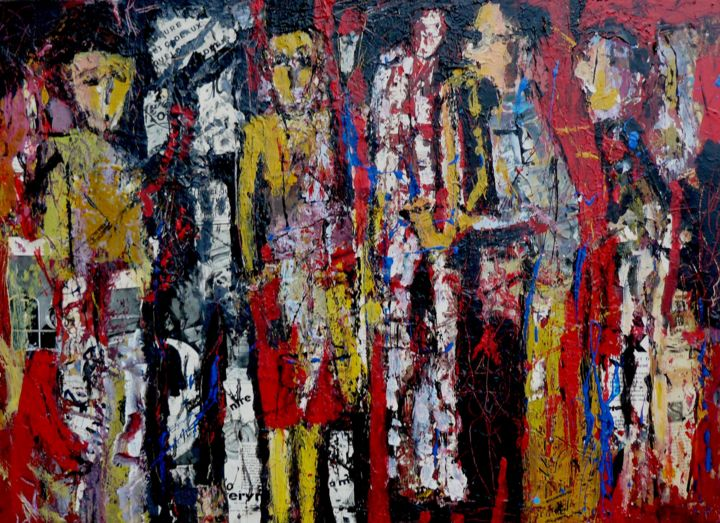 Graffiti musical - Painting,  27.6x39.4x1.6 in, ©2017 by Jacques Donneaud -                                                                                                                                                                                                                                                                                                                  Outsider Art, outsider-art-1044, Music, Graffitis, musique, saxo