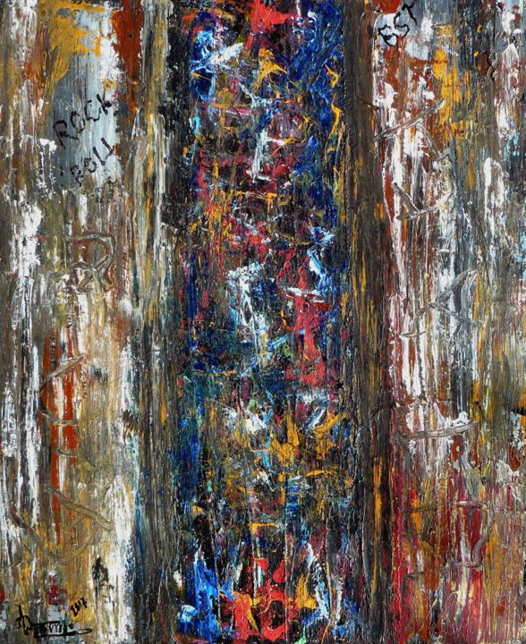 ROCK N'ROLL GRAFFITIS - Painting,  28.7x23.6x1.2 in, ©2017 by Jacques Donneaud -                                                                                                                                                                                                                                                                      Abstract, abstract-570, Abstract Art, abstraction, graffitis