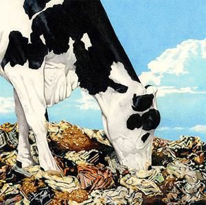 """Painting titled """"Cows On Garbage 1"""" by Don Simon, Original Art, Oil"""