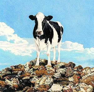 """Painting titled """"Cows On Garbage 3"""" by Don Simon, Original Art, Oil"""