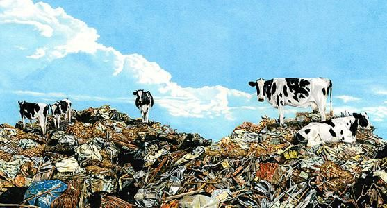 """Painting titled """"Cows On Garbage 2"""" by Don Simon, Original Art, Oil"""