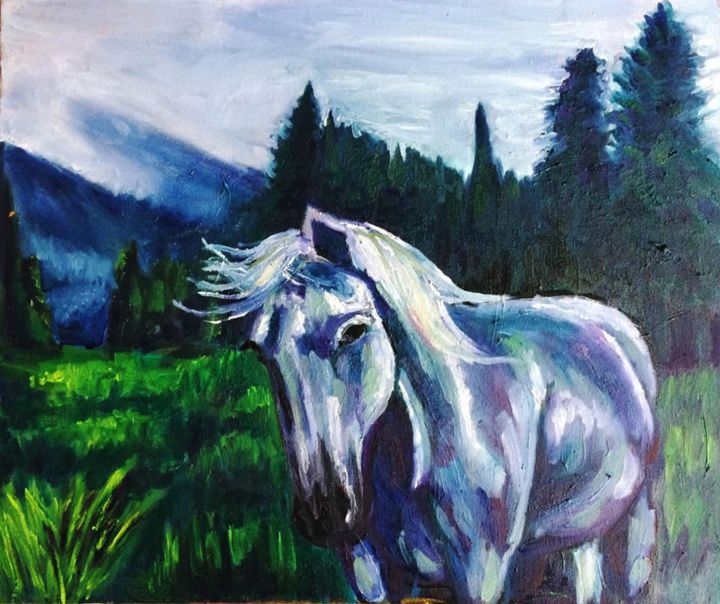 White Horse - Painting,  19.6x23.4x0.7 in, ©2019 by KristiKob -                                                                                                                                                                                                                                                                                                                                                                                                                                                                                                                                                                                                                                                                                                                                                                                                                                                                                                                                                          Expressionism, expressionism-591, Animals, Horses, Nature, Tree, horse, animals, trees, nature, forest, sky, beautiful, white horse, portrait, expressionism, realism, green, oil, canvas