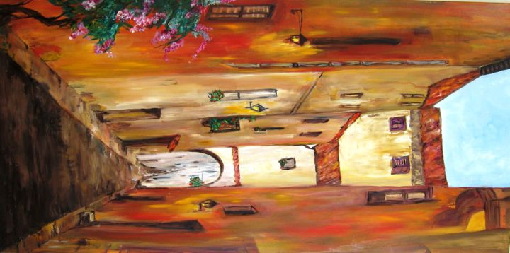 Little Italy - Painting,  47.2x23.6 in, ©2011 by Doris Cohen -                                                              oil paintings by doris cohen