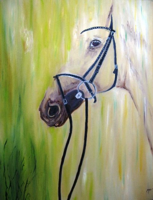 The Horse - Painting,  29.5x23.6 in, ©2011 by Doris Cohen -                                                              oil paintings by doris cohen