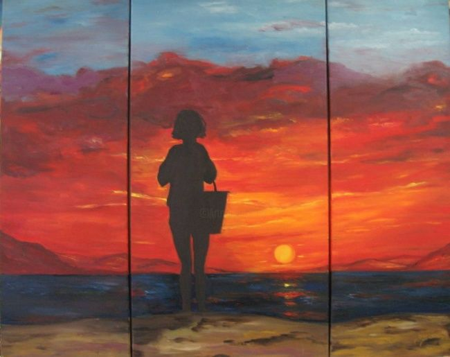 Sunset - Painting,  14.2x36.2 in, ©2011 by Doris Cohen -                                                              oil paintings by doris cohen