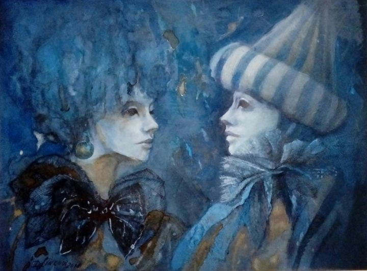 """Painting titled """"Encuentro"""" by Dorota Leniec-Lincow, Original Art, Watercolor"""