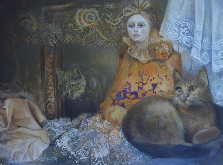 """Painting titled """"Between laces"""" by Dorota Leniec-Lincow, Original Art, Oil"""
