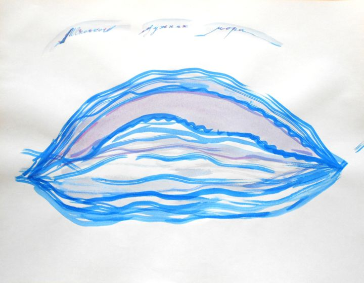 """Painting titled """"Blue Shell"""" by Dorotea, Original Art, Watercolor"""