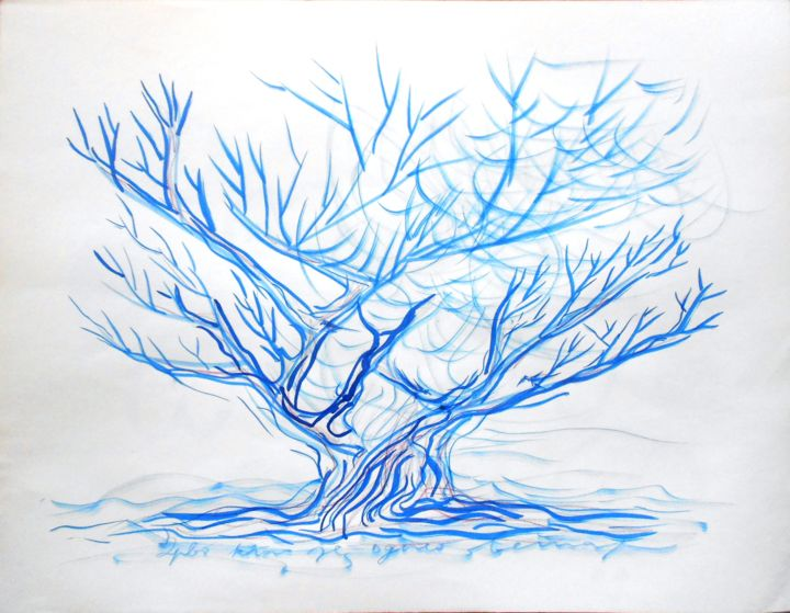"""Painting titled """"Blue Tree"""" by Dorotea, Original Art, Watercolor"""