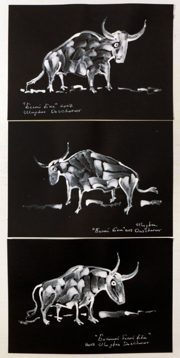 White bulls triptych - Painting,  17.7x8.3 in, ©2018 by Ulugbek Doschanov -                                                                                                                                                                                                                                                                                                                                                                                                                                                                                                                                                                                          Expressionism, expressionism-591, Animals, bulls, bulls painting on paper, triptych, painting on black paper, small painting bull, white bull painting, bull painting, white colour bulls, small paintings