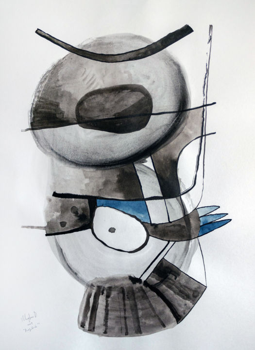 SPARROW - LARGE BIRD ABSTRACT MINIMALISM PAINTING - Painting,  23.6x15.8 in, ©2019 by Ulugbek Doschanov -                                                                                                                                                                                                                                                                                                                                                                                                                                                                                                                                                                                          Abstract, abstract-570, Abstract Art, sparrow, bird, abstract, painting, ink, ink on paper, minimalism, large drawing, black and white