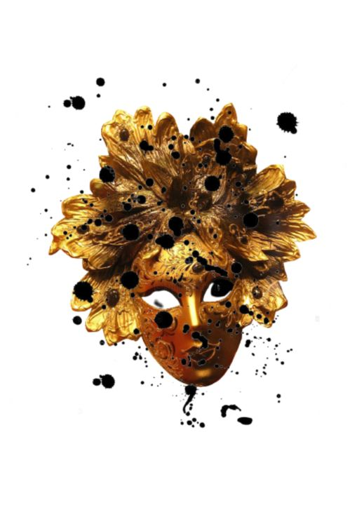 DOSE® #THEMASK - Digital Arts,  39.4x27.6x1.8 in, ©2020 by Dose® -                                                                                                                                                                                                                                                                                                                                                                                                                                                      Land Art, land-art-957, Abstract Art, venice, mask, digital, minimal, gold, modern