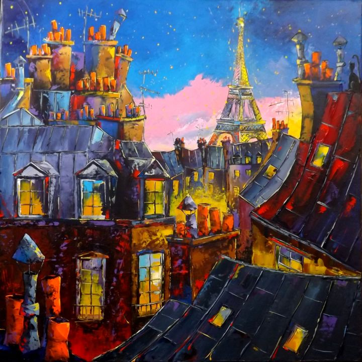 Paris sous les étoiles - Painting,  80x80 cm ©2019 by Jean-Pierre Douchez -                                                                    Outsider Art, Landscape, Cityscape, Cities, jpdouchez, douchez, paris