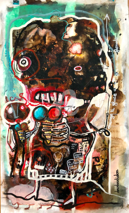 Les glaces fondent - Painting,  105x55 cm ©2018 by Doudoudidon -                                        Outsider Art, Canvas