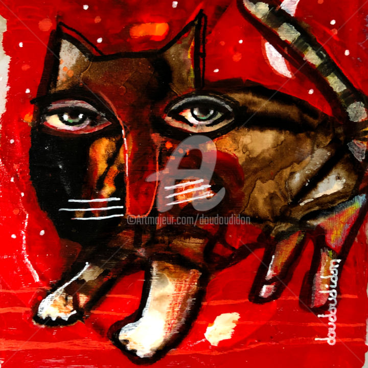 Cadou - Painting,  5.1x5.1 in, ©2019 by Doudoudidon -                                                                                                                                                                                                                                                                                                                                                                                                                                                      Outsider Art, outsider-art-1044, Animals, chat, doudoudidon, loictarin, art brut, art singulier, art outsider