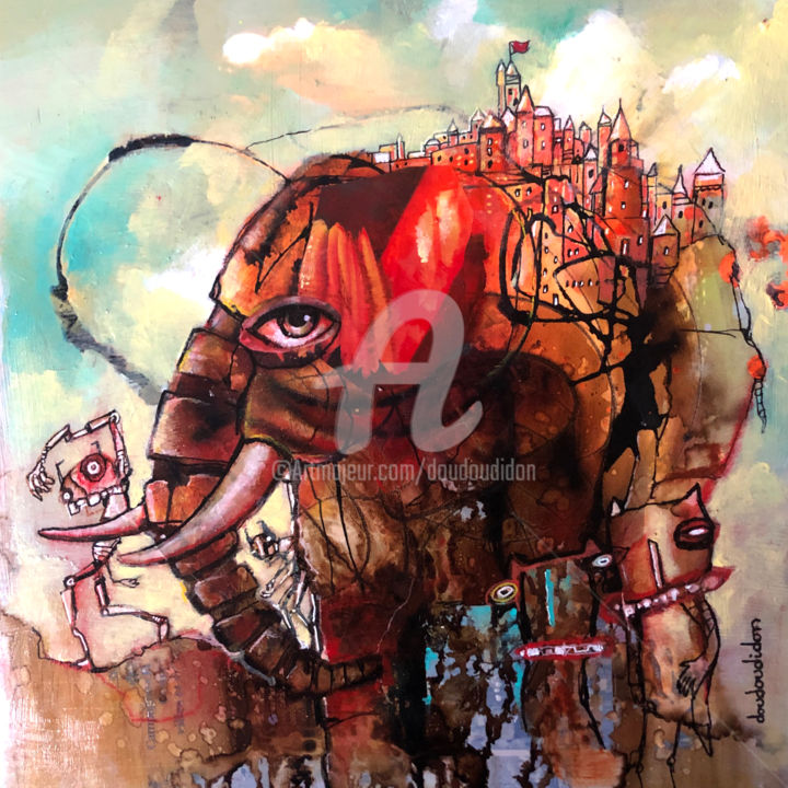 Elephant cityblues - Painting,  14.2x14.2 in, ©2020 by Doudoudidon -                                                                                                                                                                                                                                                                                                                  Outsider Art, outsider-art-1044, Animals, elephant, doudoudidon, outsider art