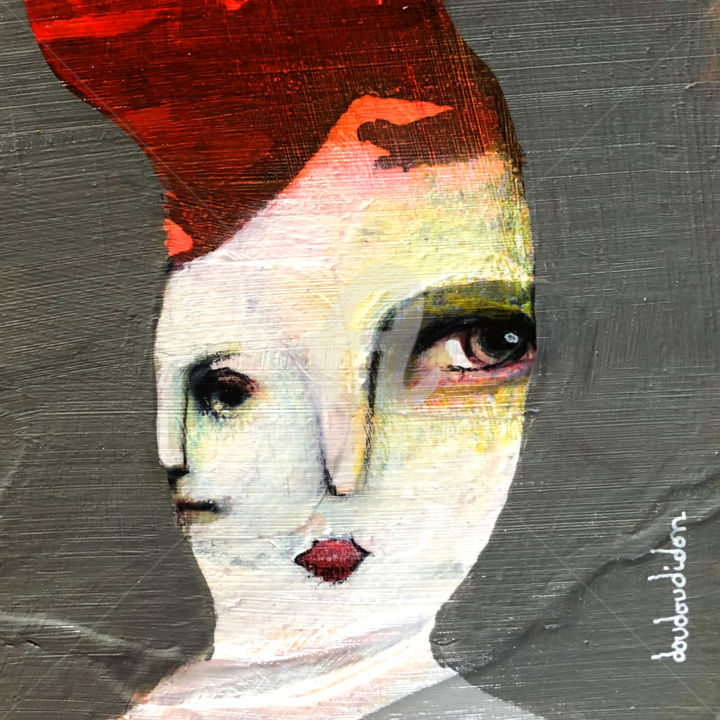 Intérêt soudain - Painting,  5.1x5.1x0.1 in, ©2020 by Doudoudidon -                                                                                                                                                                                                                                                                                                                                                                                                                                                                                                  Expressionism, expressionism-591, Women, Portraits, neo-expressionnisme, doudoudidon, loictarin, outsiderart, peinture, femme